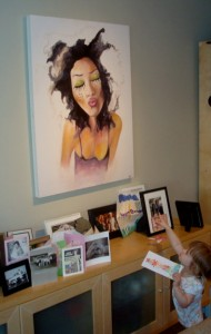My most adorable fan...Miss Harriette of Hermosa Beach with her new painting.